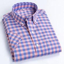 Manica corta Camicette Vestito Degli Uomini di Disegno di Modo Allentato 100% Cotone Plaid Camisa Sociale Controllare Regular fit Monopetto CollarShirt