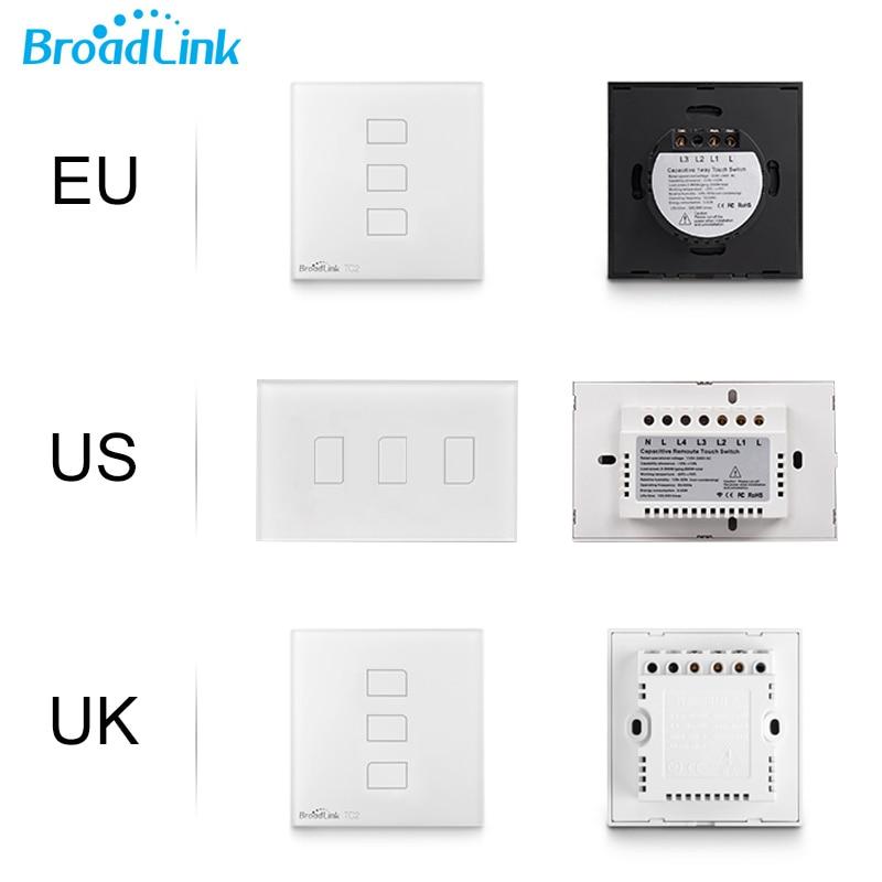Broadlink TC2 3Gang EU ԱՄՆ Միացյալ Թագավորություն Touch Light Switch անլար Remote Wifi Switch 3G 4G հեռակառավարման անջատիչ Smarthome ավտոմատացման համար