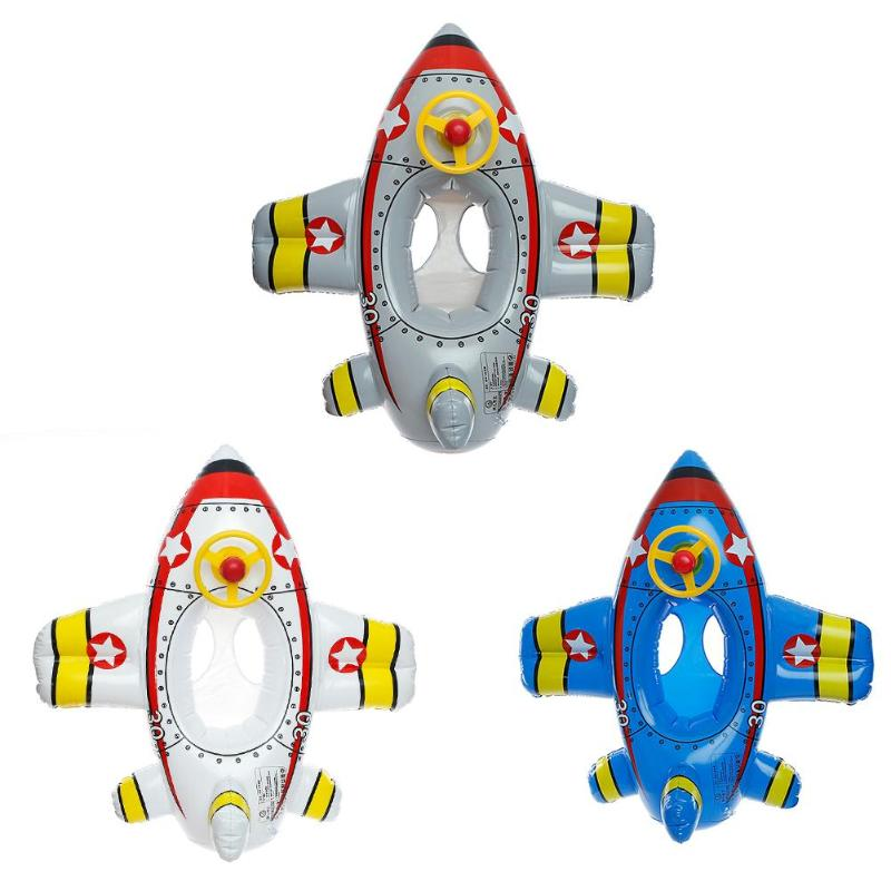 Cartoon Airplane Shape Baby Inflatable Swimming Ring Thicken Float Seat for Swimming Pool Floats Accessories Bath Toys for 1-6T