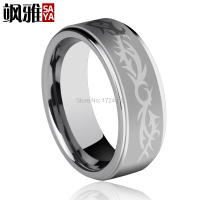 Free Engraving Shiny Sliver Unisex Tungsten Rings With High Polished Laser Engrave Dragon Pattern 5mm and 8mm Width Size 4-11