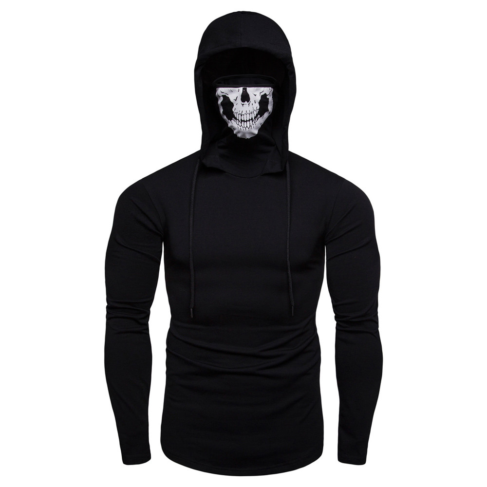 Hoodies Men Autumn Outwear Hoodies Jacket Casual Solid Color Long Sleeve Hooded Sweatshirt With Mask Skull Tops Pullover Hoody