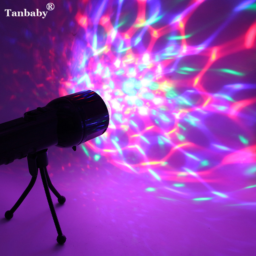 Tanbaby 2 in 1 Colorful 3W Crystal LED Flashlight RGB & DMX Dual Use Handheld&Tripod Powerful LED Torch Light For Party Disco DJ