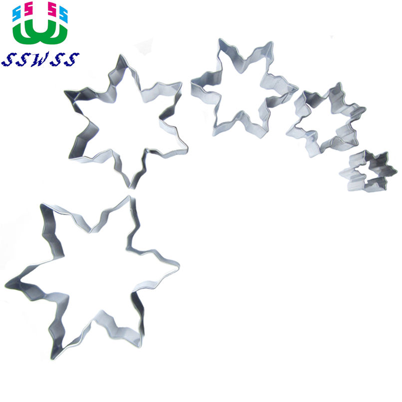Five Shining Stars Of Different Sizes Cake Decorating Fondant Cutters Tools Set,Cookie Biscuit Baking Molds,Direct Selling