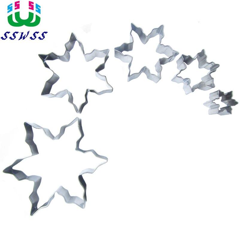 Pět zářící hvězdy z různých velikostí dort zdobení fondant řezačky nástroje sada, sušenky sušenky formy, přímé prodeje  t