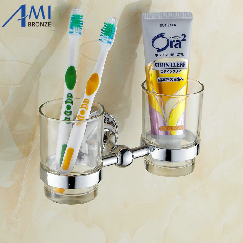 Chrome Brass Cup & Tumbler Toothbrush Holder 2 cups holder Wall Mounted Bathroom Accessories 7007CP leyden luxury gold finish blue crystal double cup tumbler holder brass wall mounted toothbrush tumbler holder bathroom accessory