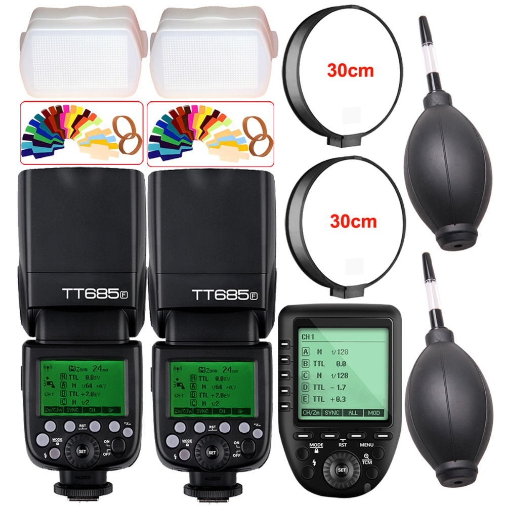 2X Godox TT685F 2 4G HSS 1 8000s TTL Camera Flash XPro F TTL Trigger for