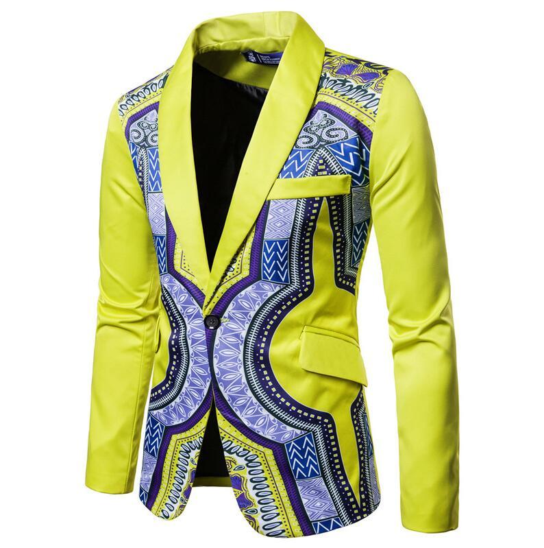 YUNCLOS мужской пиджак в национальном стиле, блейзер для свадебной вечеринки, модный вечерний пиджак с принтом, приталенный мужской пиджак с воротником-шалью - Цвет: Цвет: желтый