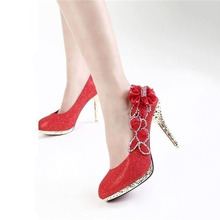 Wedding Shoes Bridal Pumps Women Girl Platform Crystal Rose Flower Evening Party Shoes Red Bottom High Heels 2019 Fashion Woman недорого