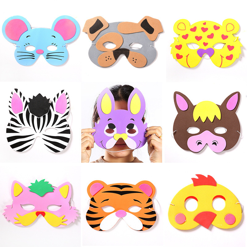 1pc Mask Children's Birthday Party Toys Cartoon Hats EVA Foam Animal Masks With Elastic Straps Baby Craft Toys For Kids Game