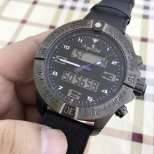 Luxury Brand New Canvas Leather Blue Rubber Digital Men Watch Stopwatch Full Black Carbon Fiber Sapphire Crystal Watches AAA+