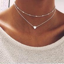 Золото Цвет чокер с сердечком ожерелье для женщин многослойное бисерное чокер ожерелье s Воротник Колье ras du femme