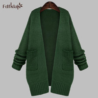 Korean Loose New Autumn Long Sleeve Sweater For Women Cardigan Knitted Women Long Winter Cardigan Black