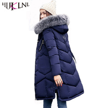 HIJKLNL Woman Winter Coats and Jackets 2017 Long Thick Hooded Jacket Fur Collar Side Split Padded