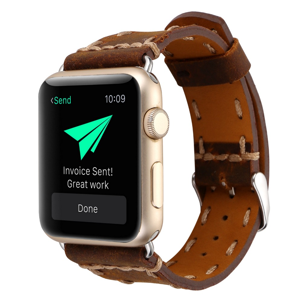 38/42mm Apple WatchBands Classic Handmade leather Bracelet Watch Band Strap Replacement Wrist Band for Apple Watch with Adapters eache silicone watch band strap replacement watch band can fit for swatch 17mm 19mm men women