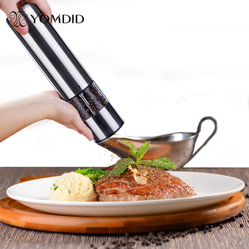 Elettrico In Acciaio Inox Salt Pepper Mill Spice Grinder Muller Attrezzo Della Cucina