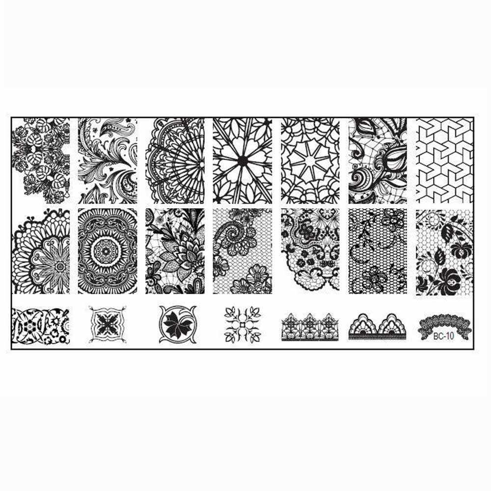 18 Types Nail Stamping Plate Round Lace Mandala Grid Icon Flower Line Nail Art Stamp Image Plate Stencil For Nails Manicure #H