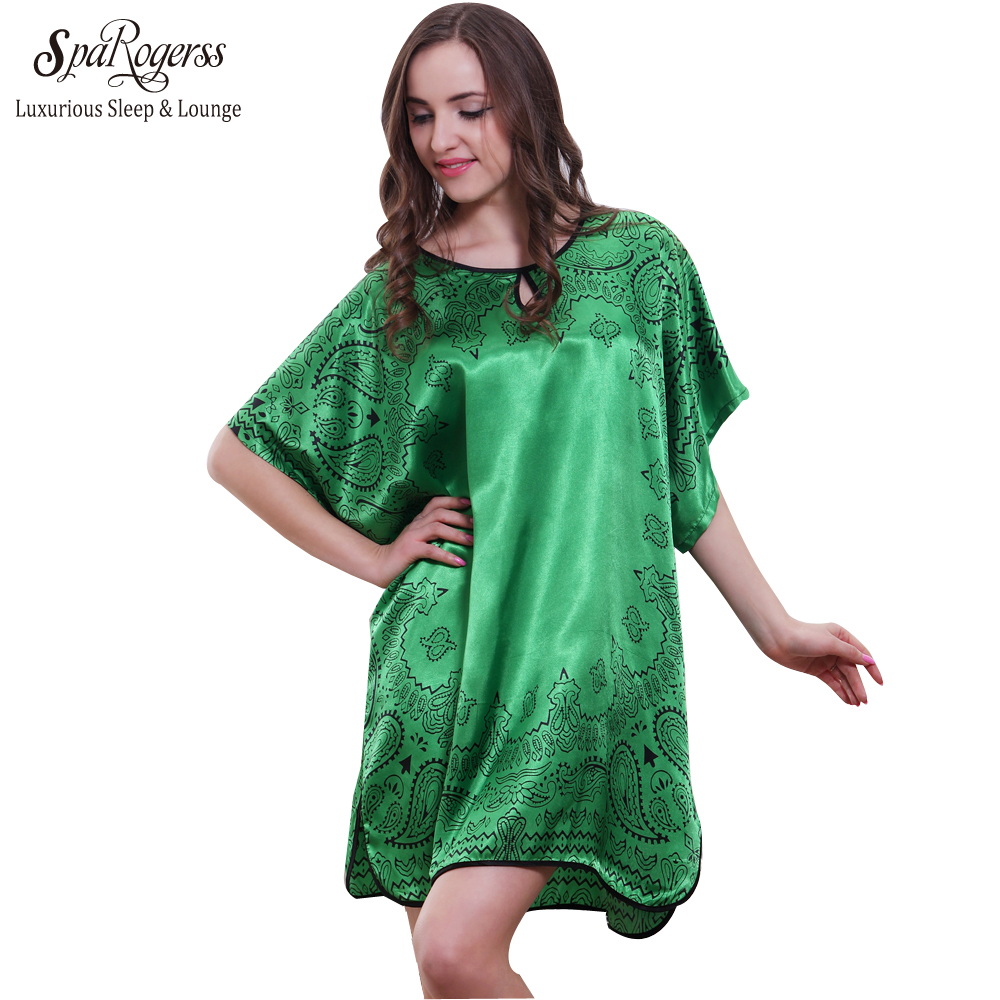 SpaRogerss Women   Nightgowns     Sleepshirts   Large Women Summer Style Nightdress Bath Robe Faux Silk Bathrobe Sleepwear Lounge YT5413