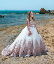 Princess Pink Flower Girl Dresses High Low Beaded Little Girls Pageant Ball Gown Tiered Backless Sequined First Communio