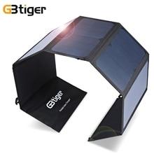 Оригинал GBtiger 40 Вт Двойные Выходы Sunpower Солнечное Зарядное Устройство Панель Power Bank Зарядка Мешок Складывая Супер Компактный с Двумя Свободными крючки