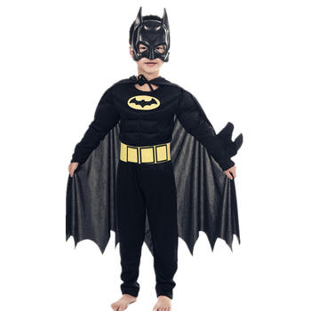 Kids Boys Muscle Batman Costumes With Mask Cloak Movie Character Superhero Cosplay Halloween Masquerade Evening Superman Role Pl 5