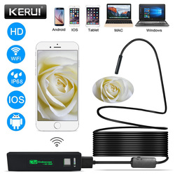 KERUI HD 1200P WIFI Endoscope Camera Semi Rigid Hard Tube Soft Wire 10M Waterproof Borescope Inspection Camera IOS USB Endoscope