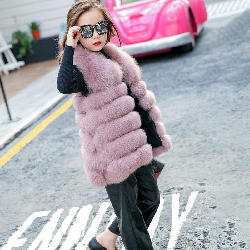 Winter Fox Fur Vests For Girls Coat Toddlers Sleeveless Jackets  Girl Faux Fur Waistcoat Kids Outerwear
