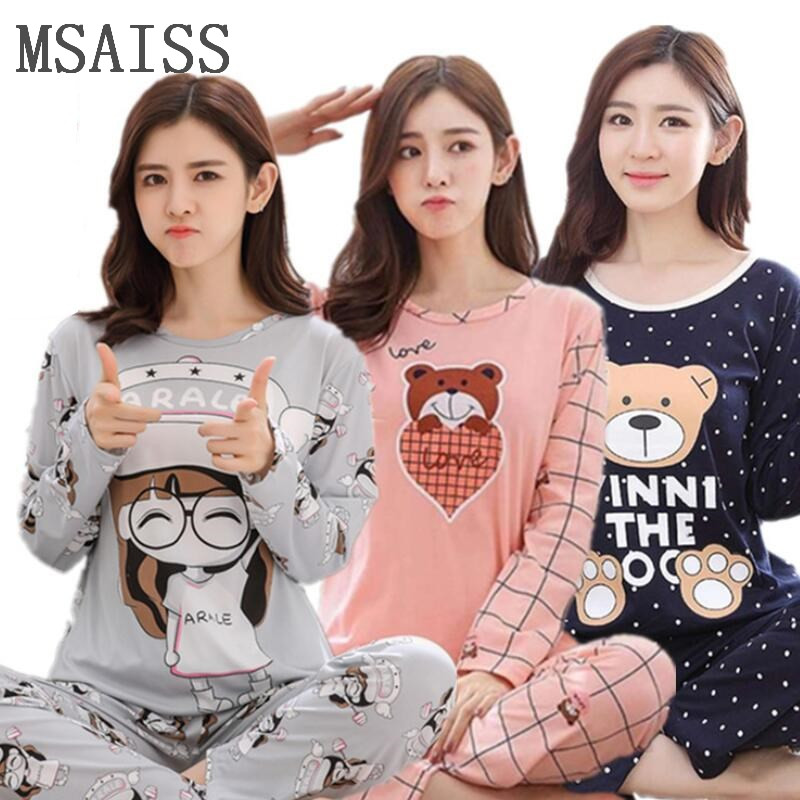 New spring Women   pajamas     set   ladies cute sleepwear woman's long sleeved household clothing   set