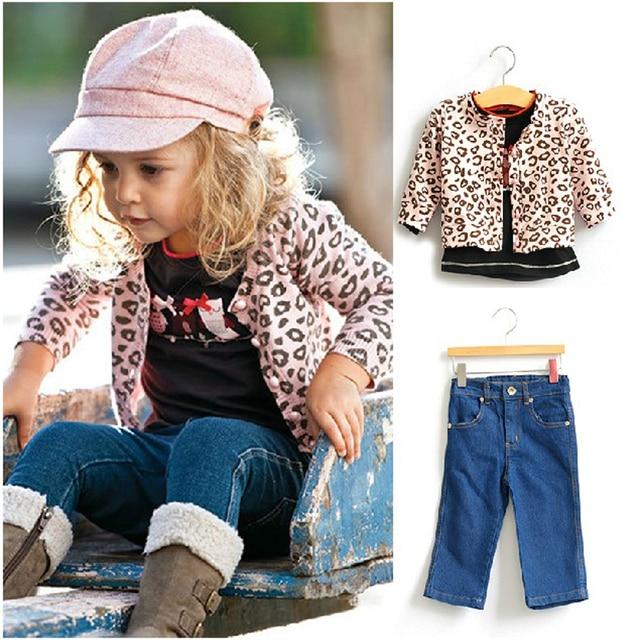 3PCS Girls Clothes Children Girls Set Leopard Suits Autumn Kids Cotton Long Sleeve Cardigan T shirt Jeans Set Children Clothing