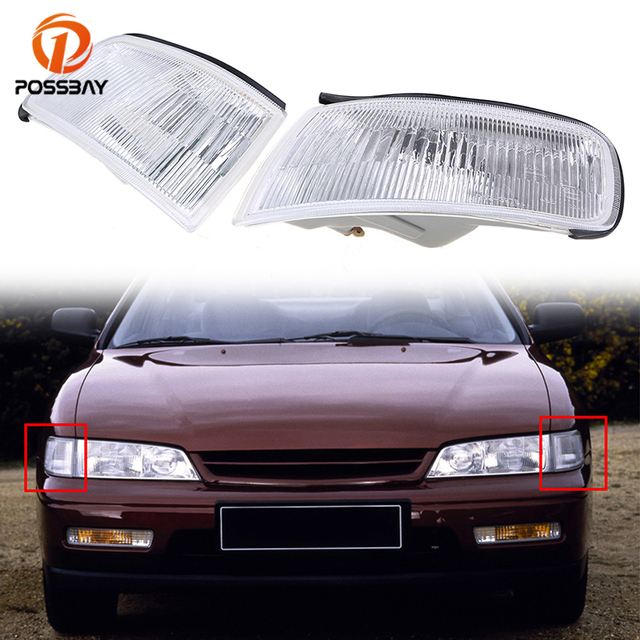 POSSBAY Side Corner Turn Signal Maker Lights Housing for Honda Accord Sedan DX/EX/LX/V6 EX/V6 LX 1994 1995 1996 1997 Clear Lens