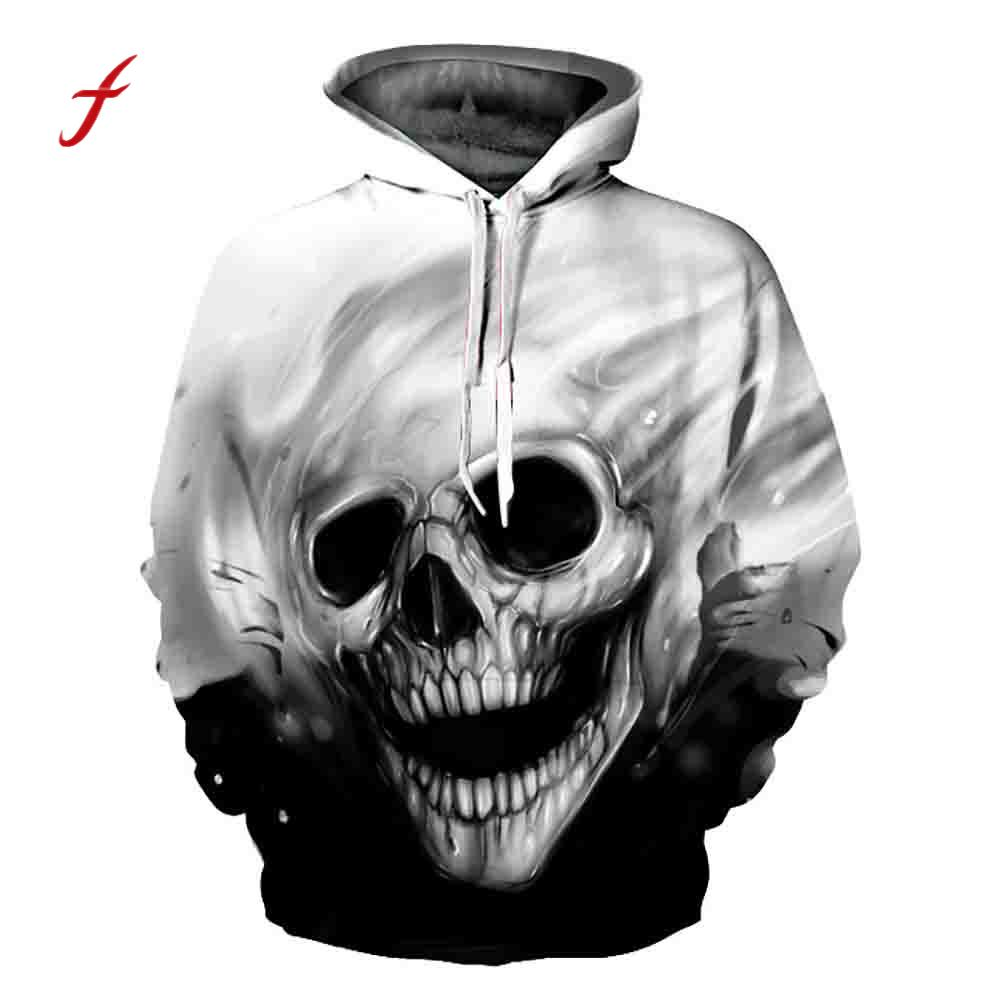 feitong Unisex 3D Printed Skull Pullover Hooded Sweatshirt Women Men Plus Large Size Tops Autumn Winter Cover Coat 4XL Clothes