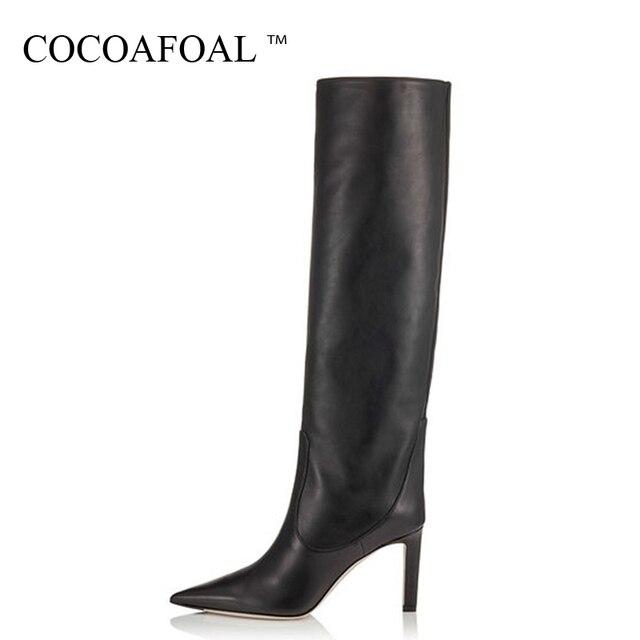COCOAFOAL Moda kadın Kovboy Çizmeleri Diz Yüksek Çizme Kadın Ayakkabı Seksi Orta Buzağı Kovboy Çizmeler Sivri Burun Düz çizmeler Siyah