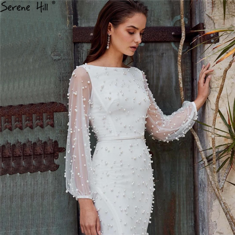 White Long Sleeve Pearls Mermaid Evening Dresses Design 2019 Dubai O-Neck Sexy Tulle Evening Gowns Serene Hill LA60995