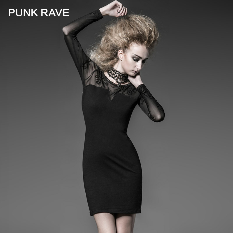 PUNK RAVE Gothic Style Black Tight Sexy Knitted Dress Prom CocktailDress With Flocking Court Pattern