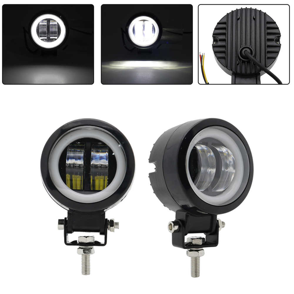 2PCS / 1PCS Waterproof Round LED Angel Eyes Light Bar Spot Light Motorcycle Offroad Car Boat Led Work Light