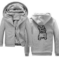 BULLDOG Dog Pet Winter Soft Men Hoodies, Sweatshirts Velvet Fleece Warm Men's Jackets Coats