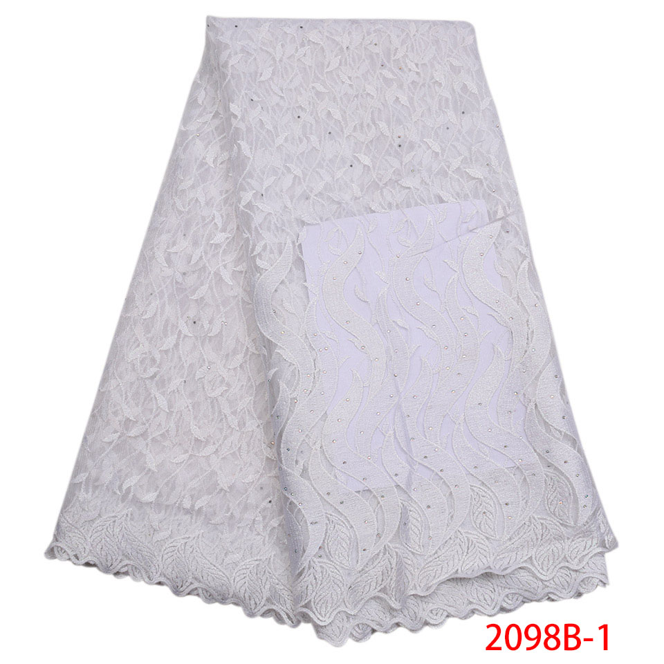 Newest Arriver African Stone Lace Fabric Nobleness African Lace Fabric Beautiful White Lace Ribbon For Party