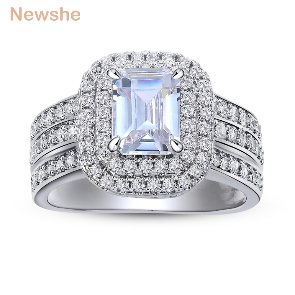 Newshe Wedding Rings For Women Classic Jewelry 1.8 Ct Princess Cut AAA CZ Solid 925 Sterling Silver Engagement Ring Bridal Set tl unique engagement wedding ring set women s pair rings stainless steel double ring set for women bridal with large rhinestone