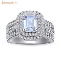 Newshe Wedding Rings For Women Classic Jewelry 1.8 Ct Princess Cut AAA CZ Solid 925 Sterling Silver Engagement Ring Bridal Set