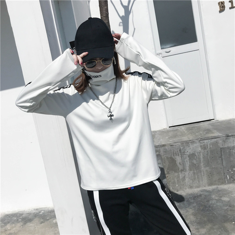 T-shirts Women Long Sleeve Turtleneck Striped Letter Embroidery Harajuku Womens Loose T-shirt Trendy Chic Korean Style All-match 20