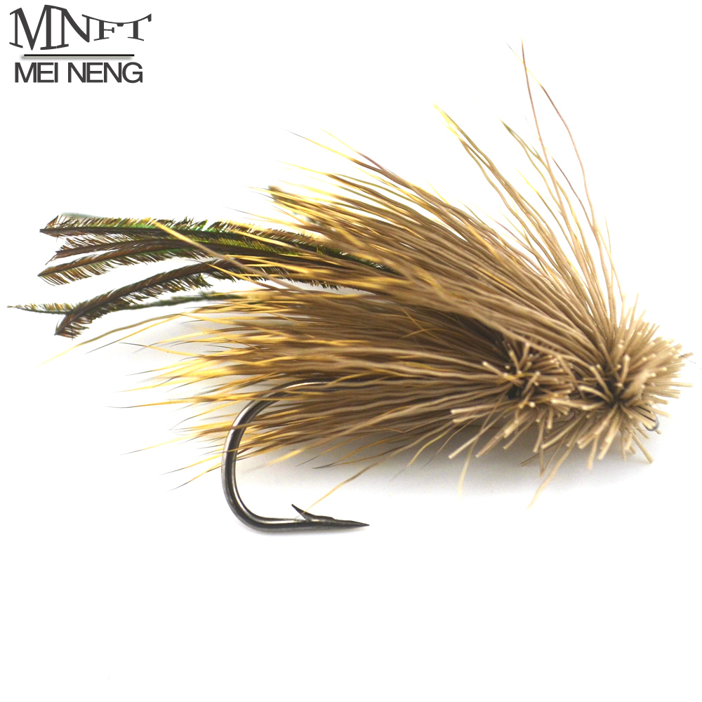 MNFT 10PCS 4#/6# Brown Grass Hopper Terrestrial Dry Fly Trout Bass Perch Fly Fishing Flies Peacock feather Lure mnft 10pcs 6 brown color deer hair gold body muddler minnow fly bass fishing lure steamers trout streamer flies
