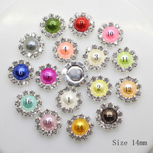 10pcs/pack wholesale 14mm Flatback button Mix-Color pearl eyelet DIY hair accessory girl initiation flower Ribbon Decoration