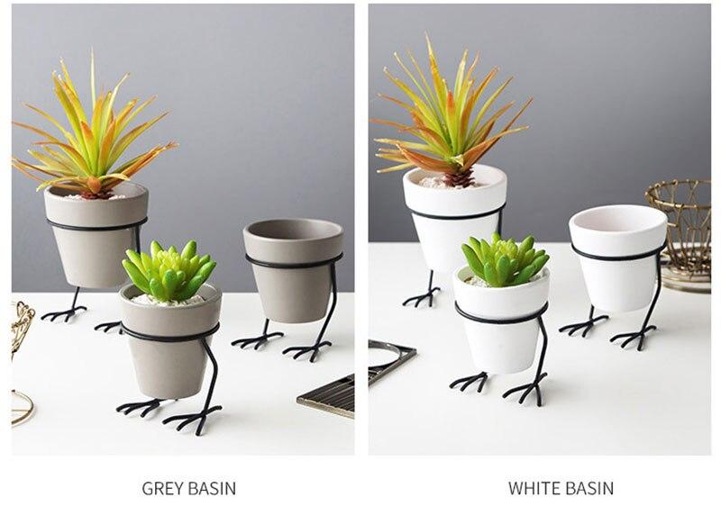 cerâmica suculenta planta pote com pés de