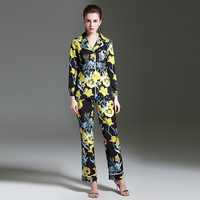 Novelty Fashion Suits Spring Summer 2017 Yellow Black Flowers Print Turn Down Collar Tops Loose Print