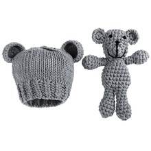 2018 Bear and Baby Cap Infant Photography Accessories Newborn Photography Props Baby Hat Girl Boy Beanies Crochet Knit Costume