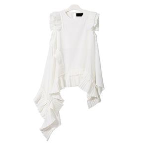 Image 4 - Xitaoノースリーブ不規則な白tシャツセクシーな女性の衣服oネックパッチワークフリル裾女の子ヒッピーシックなtシャツ新LJT3008