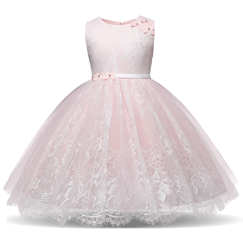 Elegant Princess White Girl Communion Party Prom Dress Pageant Little Bridesmaid Gown Lace Flower Girl Dress Children Clothing