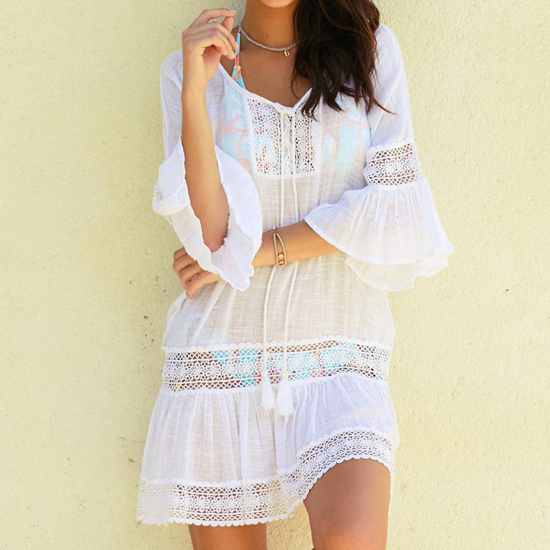 0cf99cf570 Hot Sale] 2019 Summer New Bikini Cover Up Solid Hollow Out Beach ...