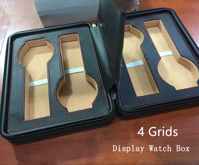4 Grids Leather Brand Watch Box Black Watch Display Boxes High Quanlity Watch Storage Box Fashion Watch Gift Box W026 2017 top pu leather watch case with window black 10 grids watch storage boxes brand watch display box watch gift box b038
