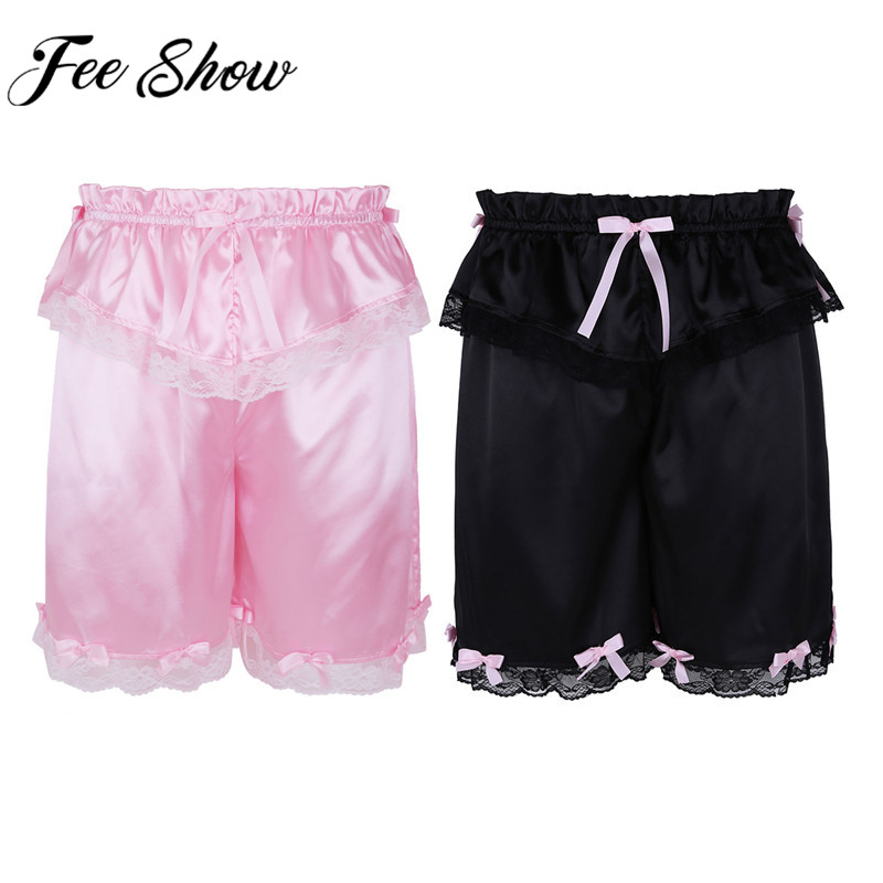 Soft Satin Maid Briefs Mens Ruffled Underwear Sissy Knickers Bloomers Crossdress