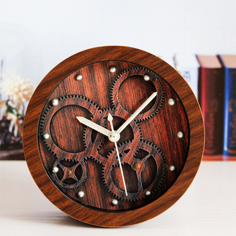 OUYUN Fashion European Retro Old Colorful Wood Watch Table 3D Stereo Gear Alarm Clock for Kids Bar Vintage Desk Clocks Home Time